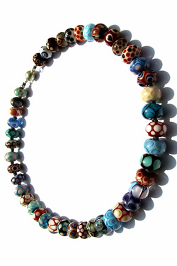 Multi-Coloured Full Handmade Glass Bead Necklace