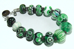 Green Lampwork Glass Bead Bracelet