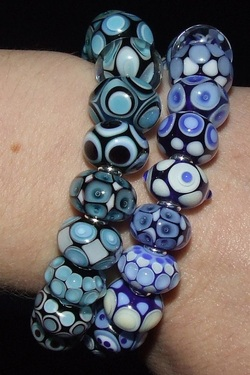 Lampwork Glass Bead Bracelets Blue and Aqua