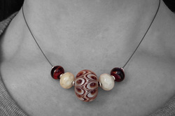 Red Glass Bead and Wire Necklace
