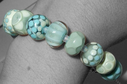 Ice coloured Lampwork Glass Bead Bracelet