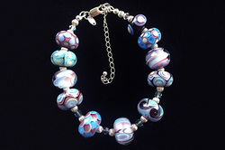 Purples and Blues Glass Bead Handmade Bracelet