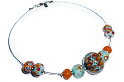 Autumn Coloured Handmade Glass Bead and Wire Necklace