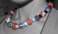 Large Full Glass Bead Necklace in Red, White and Blue