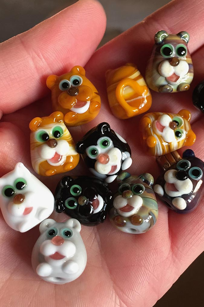 Small handmade glass cat character beads
