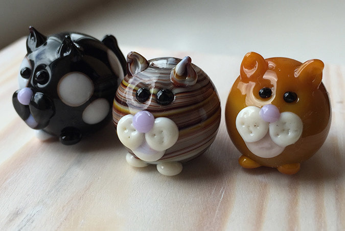 Handmade Lampwork glass cats