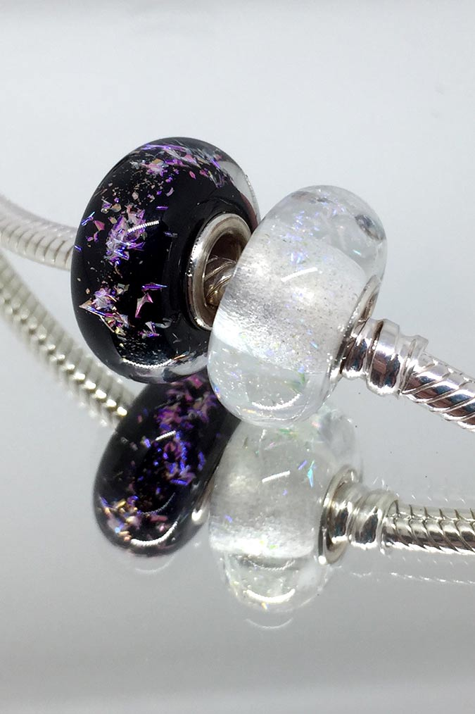 Glass charm beads compatible with Trollbeads and Pandora