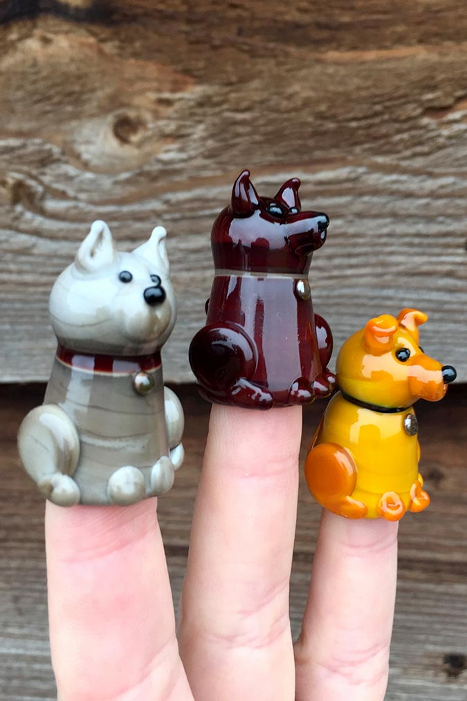 Handmade glass dog thimbles