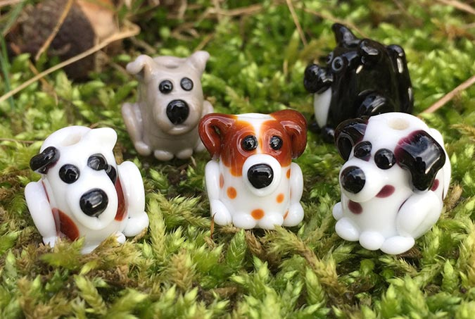 Handmade glass dog beads
