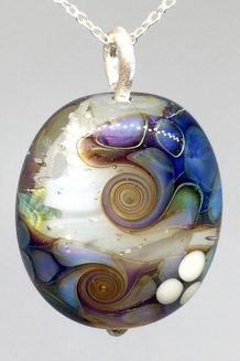 Multi-Coloured Glass Double Helix Glass Bead Pendant