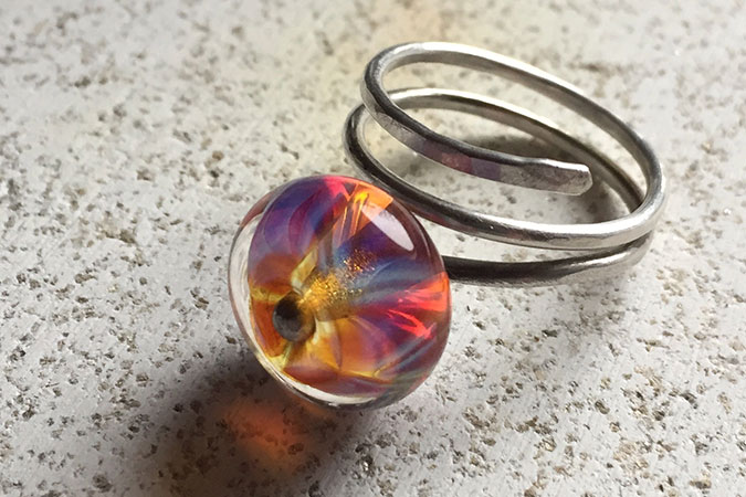 Handmade solid silver wire wrap ring with lampwork glass bead