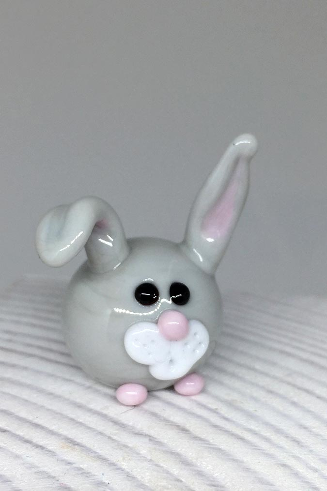 Lampwork glass rabbit, handmade bunny