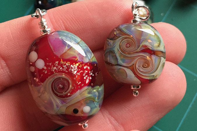 Red Double Helix Glass Pendants