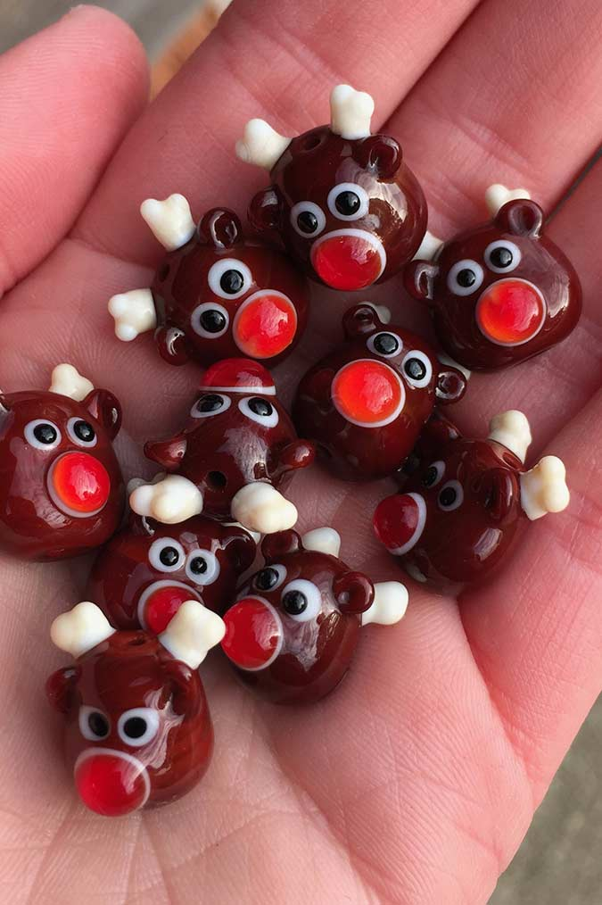 Lampwork Glass Rudolph Beads for Christmas Pendants